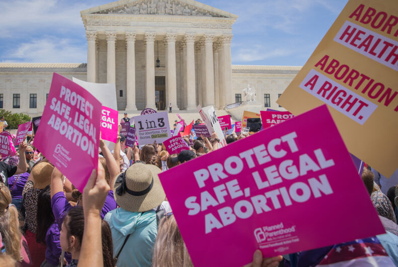 May 21, 2019: Pro-choice activists protest on the steps of the Supreme Court after states sought to pass restrictive