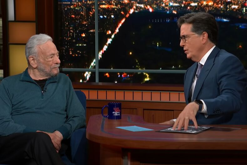 Meeting of the Stephens: Sondheim tells Colbert about his next project.