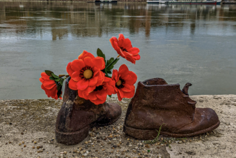 A workman's boots are part of the Shoes on the Danube Bank.
