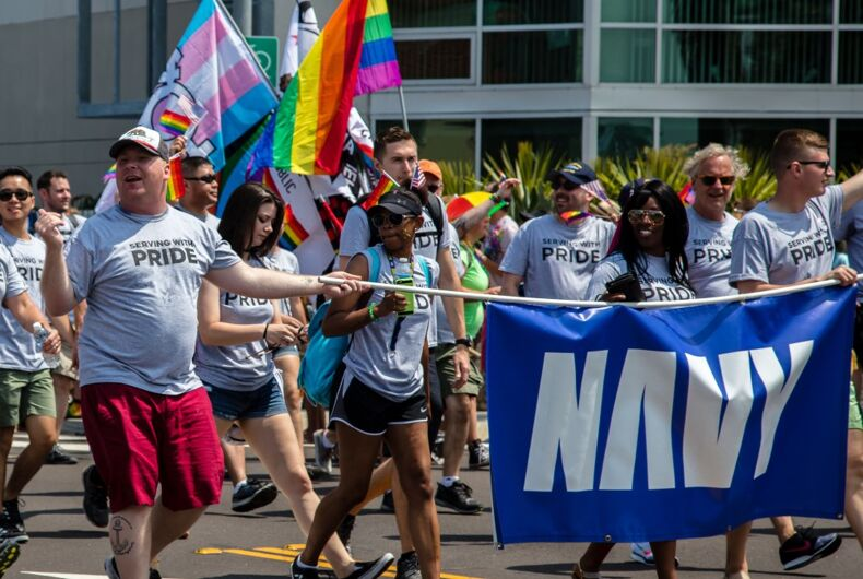 Military contingent in San Diego LGBT Pride Parade, July 15, 2017