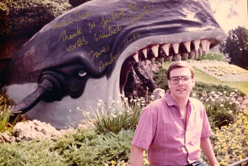 Andrew Exler, who has since changed his name to Crusader, sits in front of a whale at Disneyland in a photo that he sent to his parents.