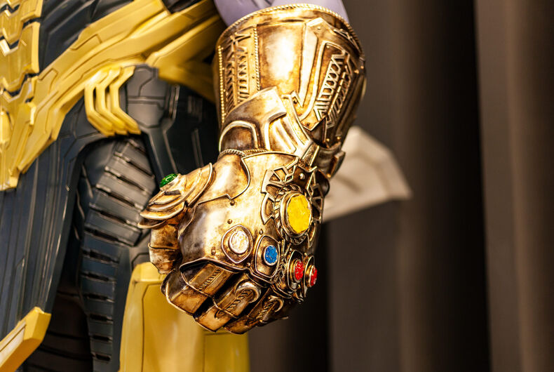 May 2019: Сlose-Up Of Thanos's Infinity Gauntlet. Huge Gold Glove With Infinity Gems. Thanos