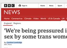The BBC is getting slammed article claiming trans women rape lesbians