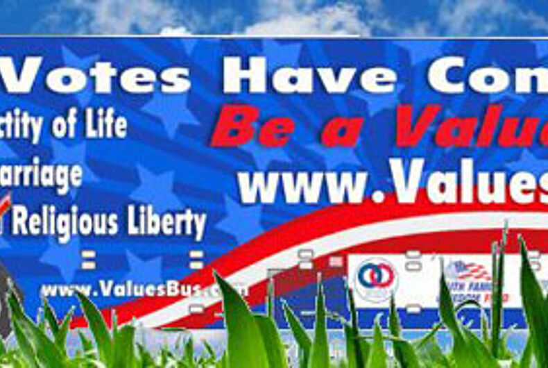 """NOM's 'Values Voter"""" bus tour will spread 'Santorum' and general homophobia"""