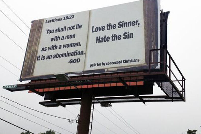 Tenn. billboard proclaiming homosexuality 'is an abomination' divides town